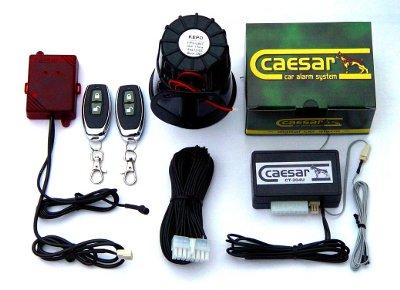 Caesar CT-204UR távkapcsolós autóriasztó, üvegtörés- légnyomás érzékelővel, 20W-os szirénával
